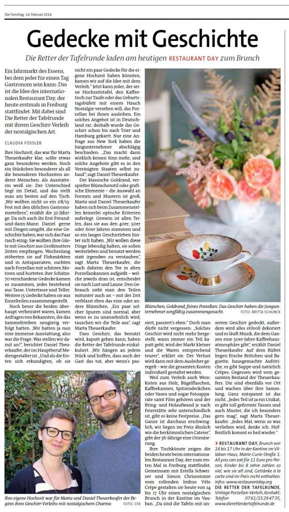 Die Retter der Tafelrunde & Restaurant Day (Der Sonntag, 16.02.2014)